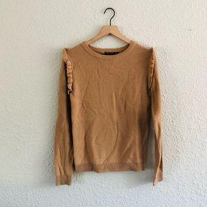 Brave Soul Tan Ruffle Sleeve Knit Sweater